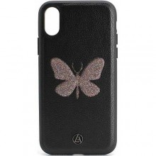 Кожаный Чехол для iPhone X Luna Butterfly Case Black