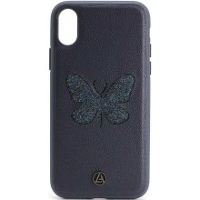 Кожаный Чехол для iPhone X Luna Butterfly Case Blue
