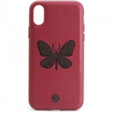 Кожаный Чехол для iPhone X Luna Butterfly Case Red