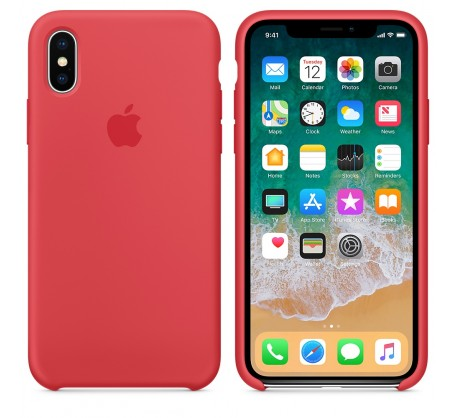 Силиконовый чехол для iPhone XS Silicone Case Copy Red Raspberry