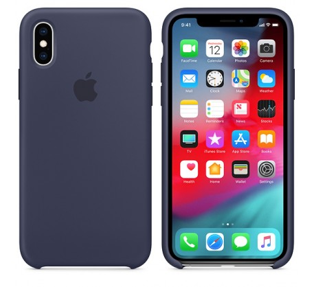 Силиконовый чехол для iPhone XS Silicone Case Midnight Blue MRW92 OEM