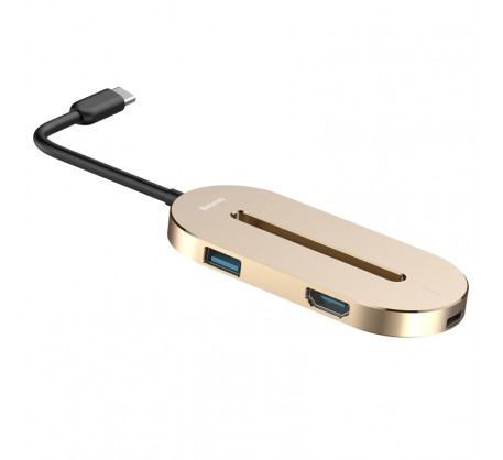 Адаптер Baseus O HUB Type-C to HDMI + Type-C + USB 3.0 Gold