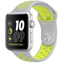 Apple Watch Nike+ 38mm Silver Aluminum Case with Flat Silver/Volt Nike Sport Band MNYP2